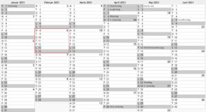 Gratis Excel-Kalender for 2021